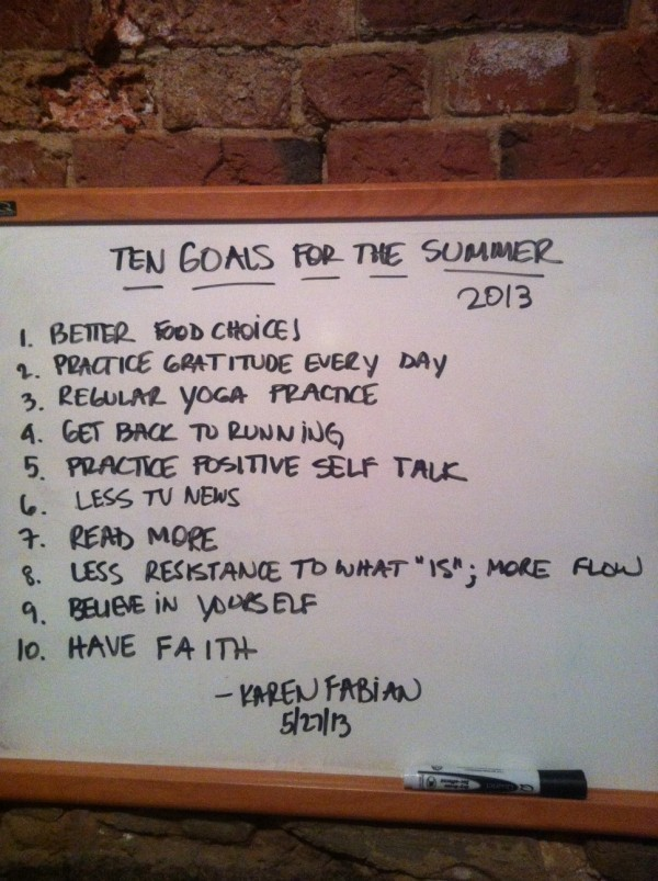 Goals for Summer 2013